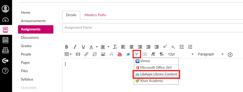 screen shot of how to add libguides content to Canvas