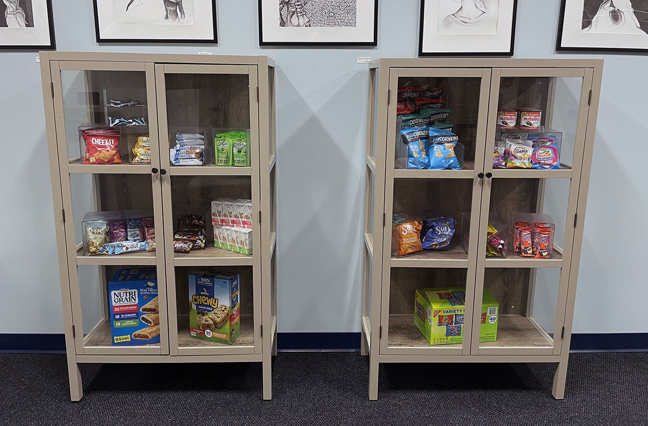 photo of two cabinets where food items are available